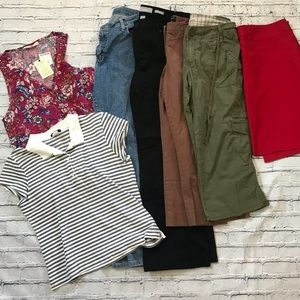 12 Petite 7 piece Lot Large Capris Jeans Skirt Top